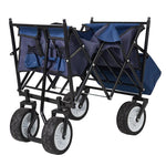 Outdoor Folding Wagon Collapsible Utility Cart with Removable Canopy and Storage Basket Blue