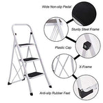 Bosonshop Folding Compact Portable 3 Step Ladder 330 lb Capacity, White