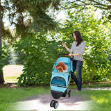 Bosonshop Folding Pet Stroller with 360 Rotating Front Wheel, Blue