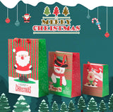 12 Pack Assorted Christmas Gift Bags with Small Medium Large Size, 4 Xmas Pattern Holiday Gift Bags with Tissue Paper, Bright