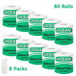 8 Packs(80 Rolls) Toilet Paper 100% Recycled 3-Ply Bath Tissue, Super Soft