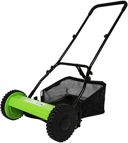16 in. Manual Reel Push Walk Behind Mower Adjustable 5-Blade Push Lawn Mower with Catcher