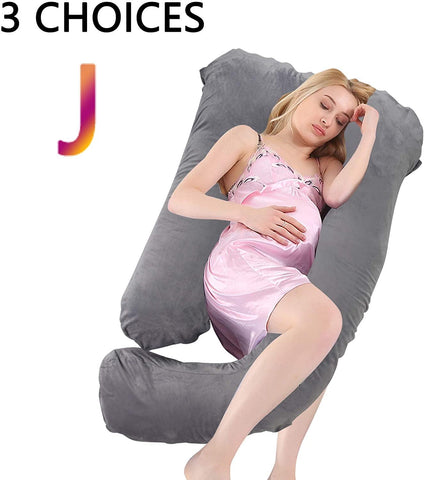 U/C/J-Shape Full Body Pillow 55 Inch Maternity Pillow with Washable Velvet Cover Nursing Support Cushion, Support for Back