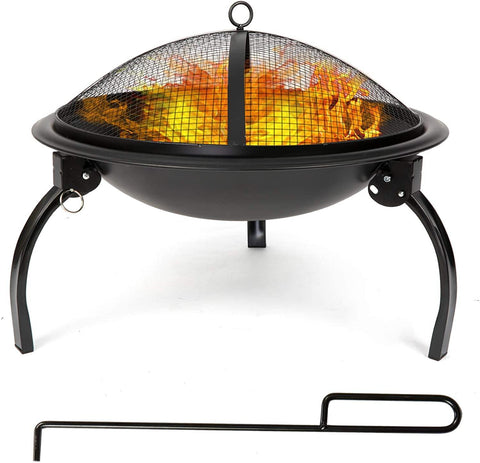 Fire Pit, 21'' Outdoor Patio Steel Fire Pit Wood Burning BBQ Grill Firepit Bowl with Round Mesh Spark Screen Cover Fire Poker