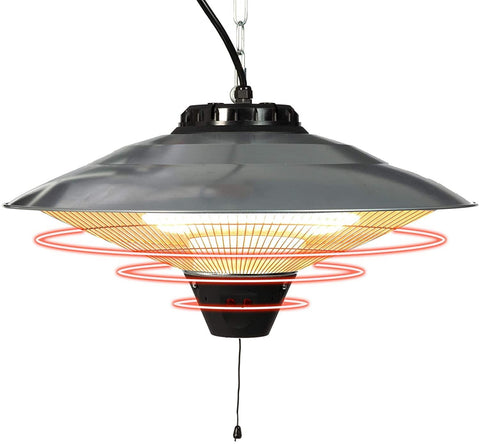 Electric Patio Heater Ceiling Mounted or Hanging Infrared Heater, Waterproof IP24, for Outdoor or Indoor Use, 900W-1500W, 5100 BTU