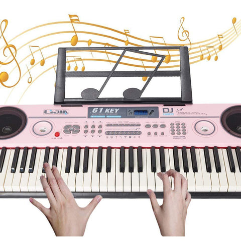 Bosonshop 61 Key Music Electronic Keyboard Electric Digital Piano Organ with Piano Stand Optional (Pink Keyboard with Stand)