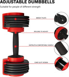 Adjustable Dumbbells For Five-Range 8/12/16/20/24 LBS Dumbbell Set With Cast Iron Weight Plate And Tray For Home Gym Workout