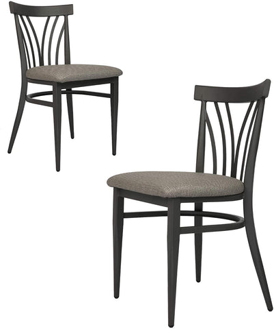 Mid-Century Modern Dining Room Chair Set of 2 with Ergonomic Curved Back Metal Frame Classy Kitchen Side Chair Fully Assembled Wooden Seat Simple Dining Chair for Pub Coffee Shop Bistro Grey