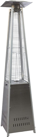 Outdoor Patio Heater, Pyramid Standing Gas LP Propane Heater With Wheels 87 Inches Tall 42000 BTU For Commercial Courtyard (Silver)