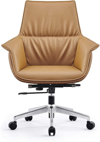Mid Back Swivel Chair For Desk With Adjustable Height Handle Office Armchair PU Leather Ergonomic Desk Chair, Brown