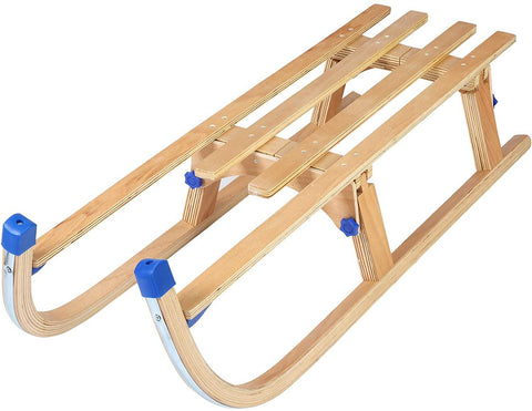 Sled Wooden Foldable For Kids And Adult Outdoor Play With A Pulling Rope 42 inch Weight Capacity With Blue Bracket, 220lbs