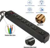 Surge Protector Power Strip with Outlets and USB Charging Ports 6-Foot Cord for Home, Office -Black (2, 6 outlets)