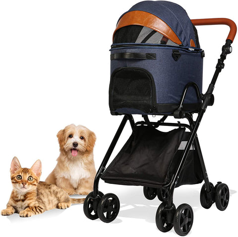 Luxury Folding Pet Stroller for Medium Dogs Cats