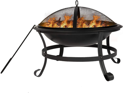 22'' Outdoor Wood Burning BBQ Grill Firepit Bowl w/Spark Round Mesh Spark Screen Cover Fire Poker Patio Steel Fire Pit Bonfire for Backyard Camping