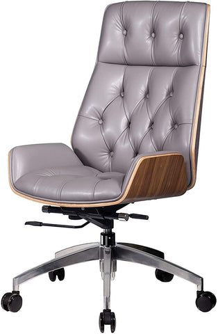Ergonomic Desk Chair PU Leather Computer Chair Executive Adjustable Rolling Swivel Chair With Headrest & Wood Walnut Backrest, Gray