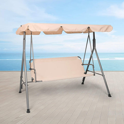 3 Person Outdoor Porch Patio Swing Chair with Stand and Waterproof Canopy All Weather Resistant Swing Bench, Beige