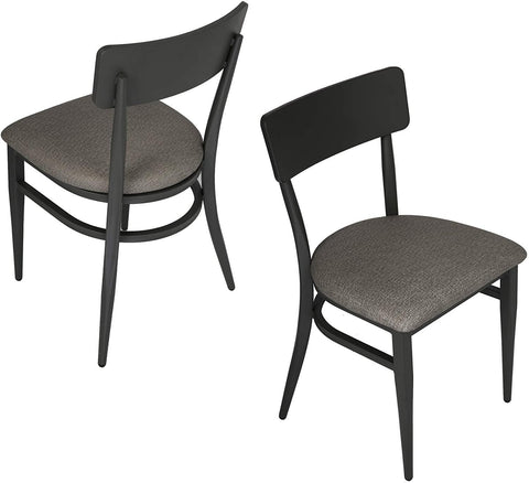 Set of 2 Dining Chairs, Metal Chair w/Simple Curved Back & PU Leather Cushion, 500 LBS Capacity Stable Chair for Dining Room, Living Room, Bistro, Black