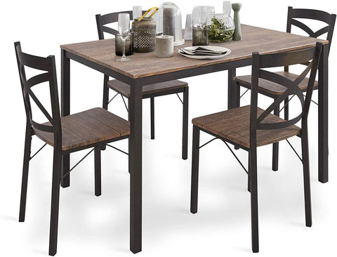5 PC Wood Dining Set Table And Chairs 4 With Metal Legs, Home Kitchen Breakfast Furniture