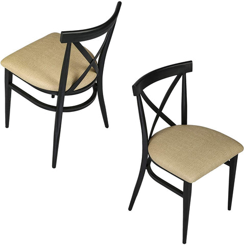 Crossback Dining Chairs Set of 2, Industrial Side Modern Metal Upholstered Chair With PU Leather Seat & X-Shaped Back, Beige & Black