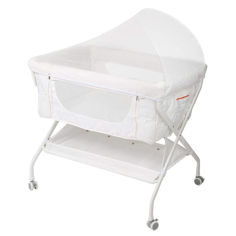 Baby Bassinet Bedside Sleeper Folding Crib with 4 Wheels, Newborn Infant Bed with Soft Comfort Mattress