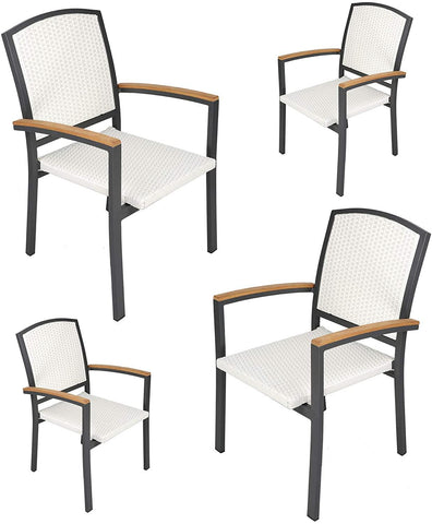 Outdoor Patio All Weather PE Rattan Dining Chairs with Aluminum Alloy Frame, Set of 4 Stackable Patio Garden Furniture
