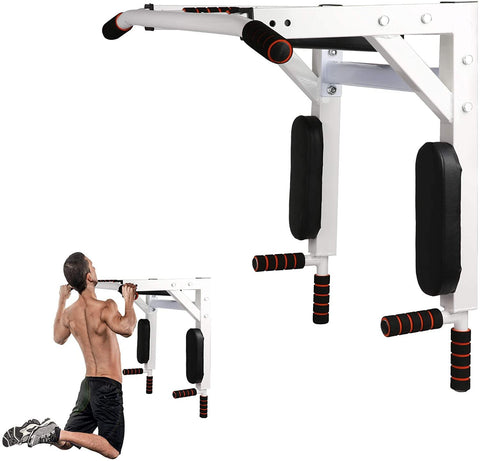 Wall Mounted Pull Up Bar Multifunctional Chin Up Bar and Dip Station Heavy Duty Steel Strength Training Indoor Fitness Equipment for Home Gym, Supports to 330 Lbs