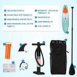 Inflatable Stand Up Paddle Board W SUP Accessories & Backpack Leash Double Action Hand Pump Repair Kit for Youth & Adult