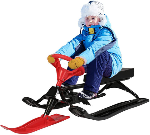 Snow Racer Sled with Steering Wheel and Twin Brakes, Kids Teens Winter Sport Ski Sled Slider Board for Downhill and Uphill