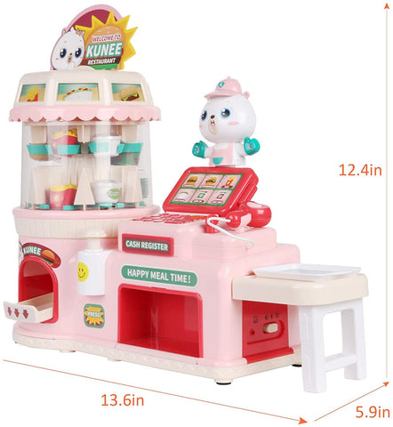 Kids Pretend Play Restaurant Set Interactive Vending Machine Game Play Calculator Cash Register Powered by USB Charge or Batteries