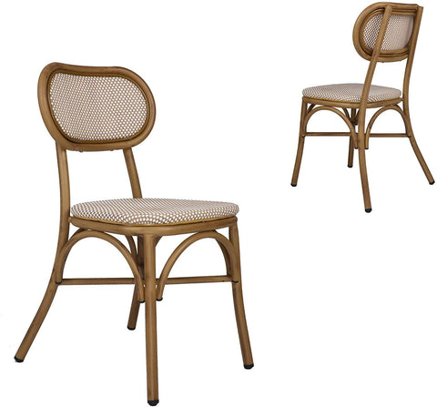 Outdoor Rattan Leisure Chairs Garden Patio Chair Set, Metal Chair Frame with Textilene Seat, Set of 2, Armless, Khaki