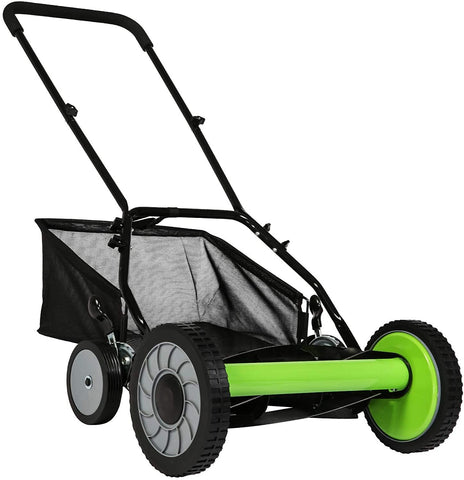 16-Inch Manual Reel Mower Adjustable 5-Blade Push Lawn Mower with Catcher (Four Wheeled)