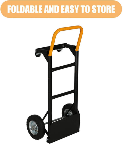 Convertible Hand Truck Dual Purpose 2 Wheel Dolly and 4 Wheel Push Cart with Swivel Wheels 330 Lbs Capacity Heavy Duty Platform Cart for Moving/Warehouse/Garden/Grocery