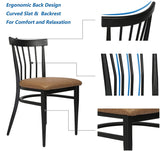 Mid-Century Dining Chairs Set of 2, w/Comb Back & PU Leather Cushion, Rubber Iron Frame Chairs, Easy Assemble 450 LBS Load