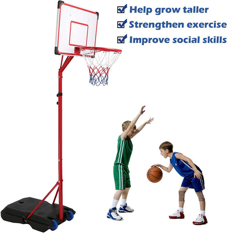 Basketball Hoop for Kids and Teens, Portable Basketball Goal System for Indoor and Outdoor Backyard, Basketball Stand with 2 Wheels, Easy to Assemble