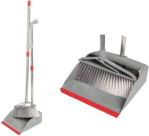 Broom and Dustpan Set Long Handle Lightweight and Robust Sweep Set Easy Assembly for Pet Hair Dirty Corners, Home Office, Grey + Red