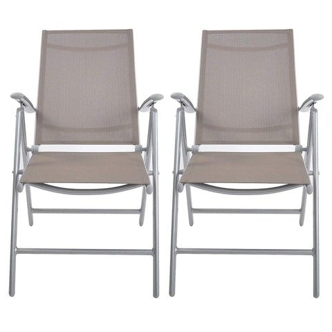 Bosonshop 2Pcs Aluminum Adjustable Reclining Patio Folding Chairs