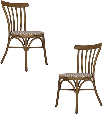 Dining Chairs Armless with Backrest Urban Style Kitchen Chairs Dining Bistro Cafe Aluminum Chairs Textile Fabric Seat Set of 2 White Lattice sillas para comedor
