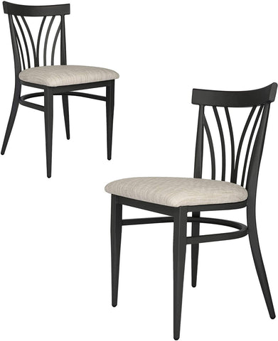 Mid-Century Modern Dining Room Chair Set of 2 with Ergonomic Curved Back Metal Frame Classy Kitchen Side Chair Fully Assembled Wooden Seat Simple Dining Chair for Pub Coffee Shop Bistro White