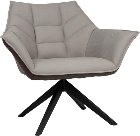 360° Swivel Accent Armchair Modern Living Room Leisure Chair with Upholstered Seat & Metal Leg, Grey