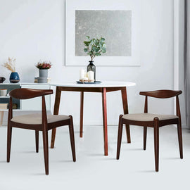 2PCs Dining Chairs, Mid-Century Side Modern Chairs with Faux Leather Cushion and Curved Backrest Low-Back Dining Chairs