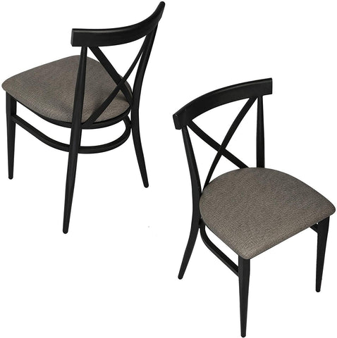 Cross Back Dining Chairs With Metal Frame & PU Leather Seat, Stackable X-Shaped Back Inhustrial Metal Chair, Set of 2(Gray & Black)
