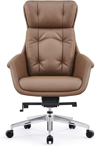 High Back Swivel Chair for Desk with Adjustable Height Handle Office Armchair PU Leather Ergonomic Desk Chair, Brown