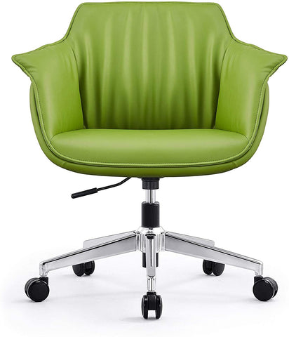 Low Back Swivel Chair for Desk With Adjustable Height Handle Office Armchair PU Leather Ergonomic Desk Chair, Green