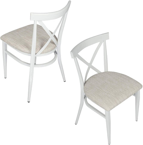 Set of 2 Dining Room Chairs With Metal Frame & PU Leather Seat, Cross Back Stacking Side Chairs, Stackable Ergonomic Design Chairs For Hoom