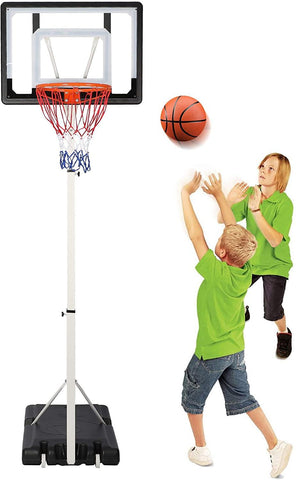 Portable Basketball Hoop Backboard System Stand Outdoor Sports Equipment Height Adjustable 8.4Ft-10Ft with Wheels