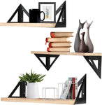 Floating Wall Shelves Rustic Floating Shelf Wall Mounted Set of 3 for Bathroom Bedroom Living Room Kitchen |Easy to Install, Decoration and Storage