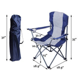 Bosonshop Canopy Camping Chair Folding Durable Outdoor Patio Seat with Cup Holder, Blue
