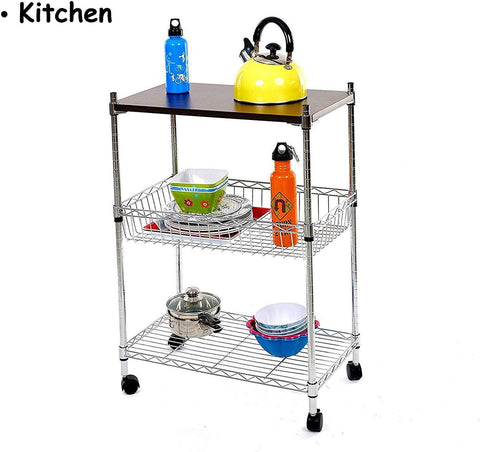 3-Tier Wire Rolling Cart Kitchen Shelf Organizer Rack with Chopping Board and Wheels Shelving Unit Storage Cart