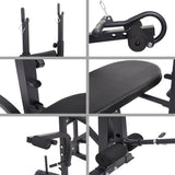 Bosonshop 660LBS Multi-Function Adjustable Weight Lifting Bench with Leg for Indoor Exercise