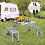 Picnic Table Portable Folding Camping Table Chair Set for Camping Hiking 4 Person Fold Up Travel Picnic Table with Seats Chairs and Umbrella Hole